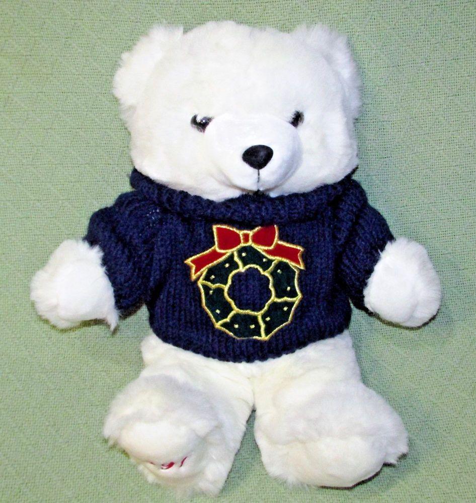 Vintage Stuffed Polar Bears Winter Christmas Pattern Unique