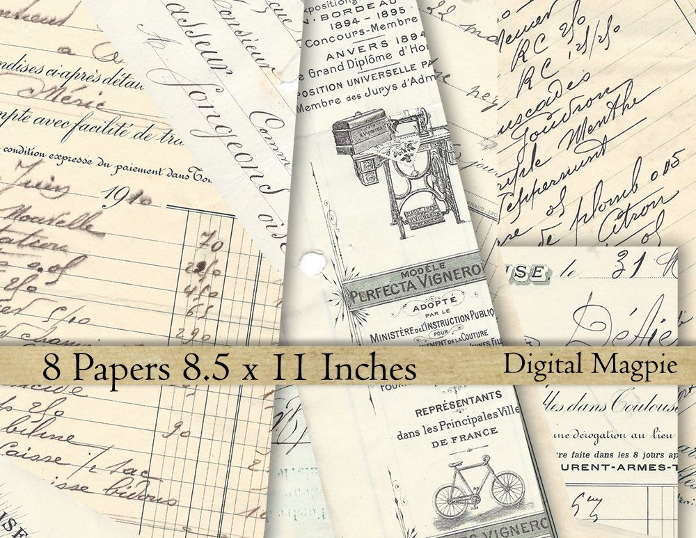 Download French office Ephemera 8.5 x 11 digital paper pack ...