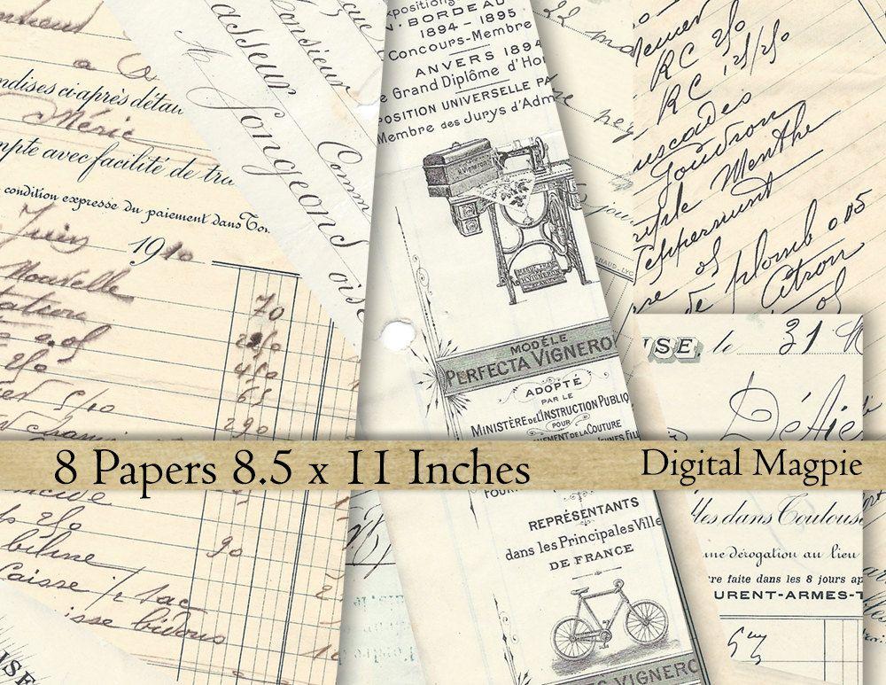 Download French office Ephemera 8.5 x 11 digital paper pack ...