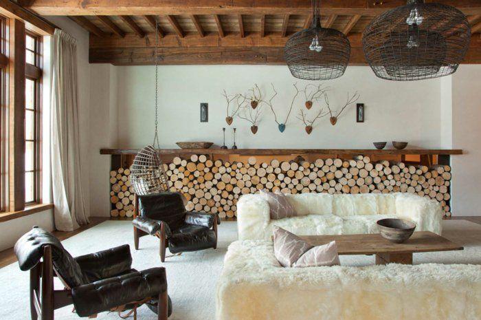 Zimmer Einrichten Ideen Wohnzimmer Rustikal Ledersessel Ausgefallene Sofas