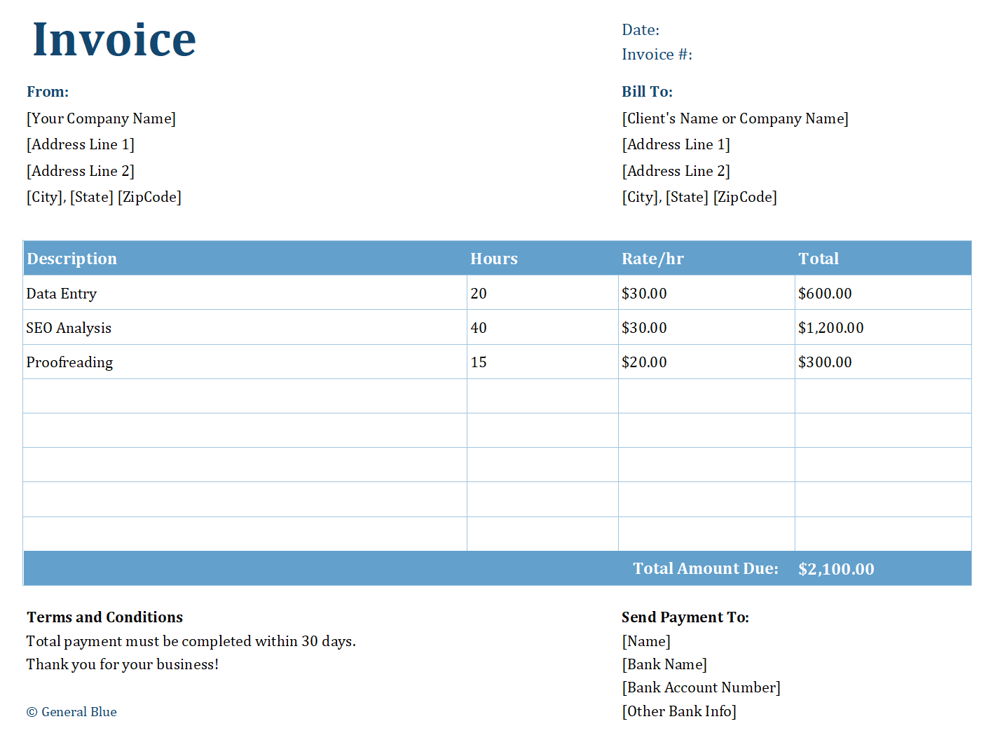 Freelancer Invoice Templates In Different Formats For Free Invoice Template Freelance Invoice Template Invoicing