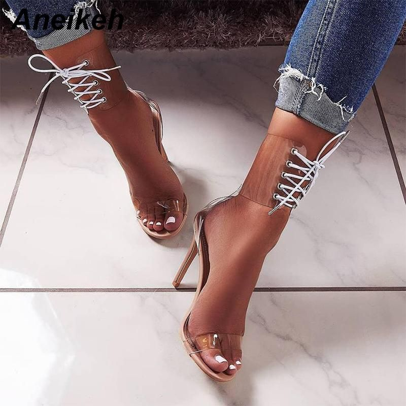 f5cdd3594ef Aneikeh 2018 PVC Jelly Lace-Up Sandals Open Toed High Heels Sexy ...