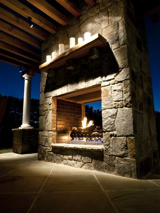 Double opening outdoor fireplace