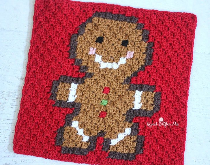 Crochet Gingerbread Man Pixel Square (Repeat Crafter Me) | Adornos ...
