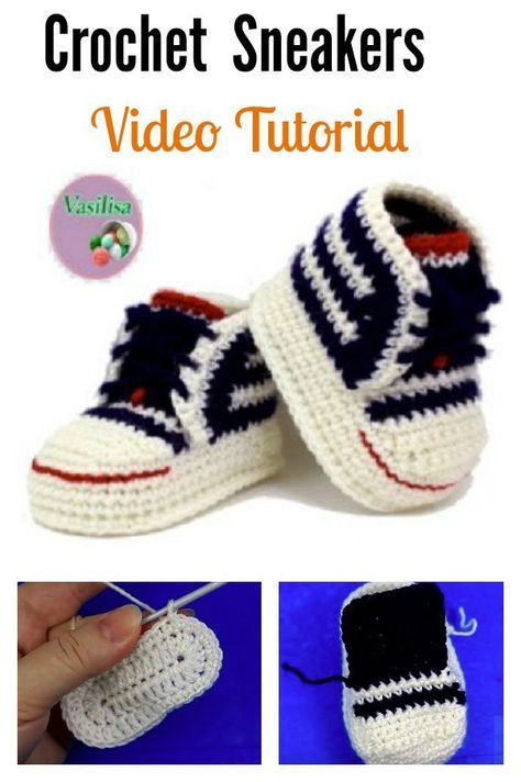 29c34e01ed22 Crochet Baby Converse Sneakers Free Pattern and Video Tutorial