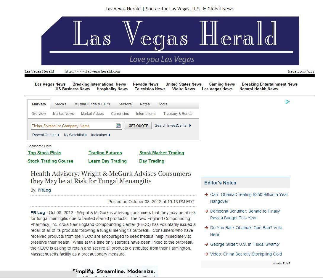 The Las Vegas Herald featured Wright & McGurk's fungal meningitis advisory