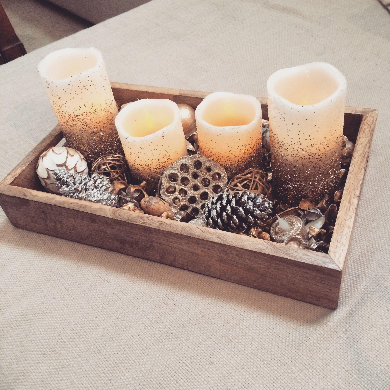Potpourri Fai Da Te.Diy Centrepiece With Potpourri Led Candles And A Homegoods