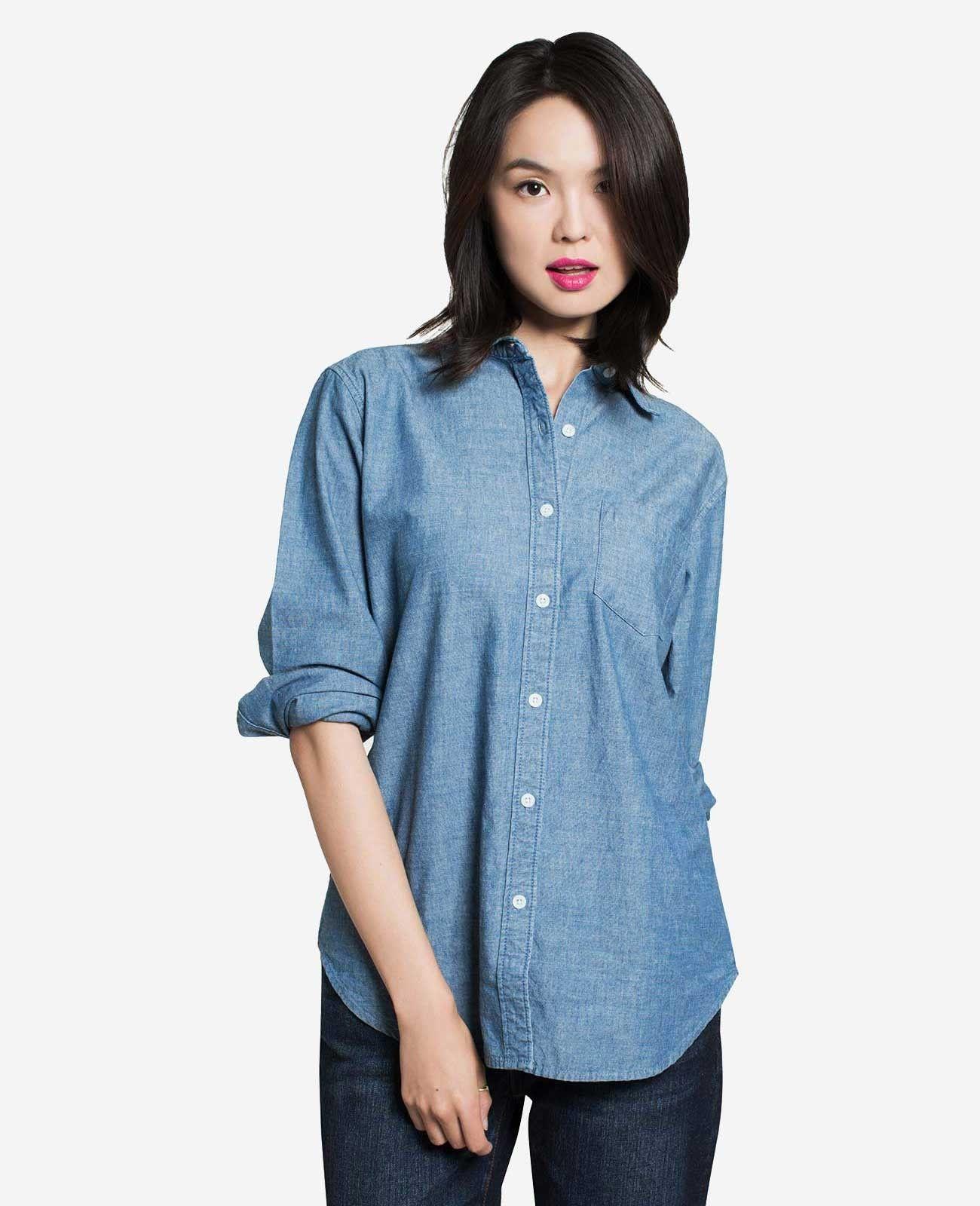 5f12579ba7b Women's Chambray Boyfriend Shirt - Shirts & Blouses - Tops - WOMEN - GRANA:  Wardrobe essentials made from the world's best fabrics
