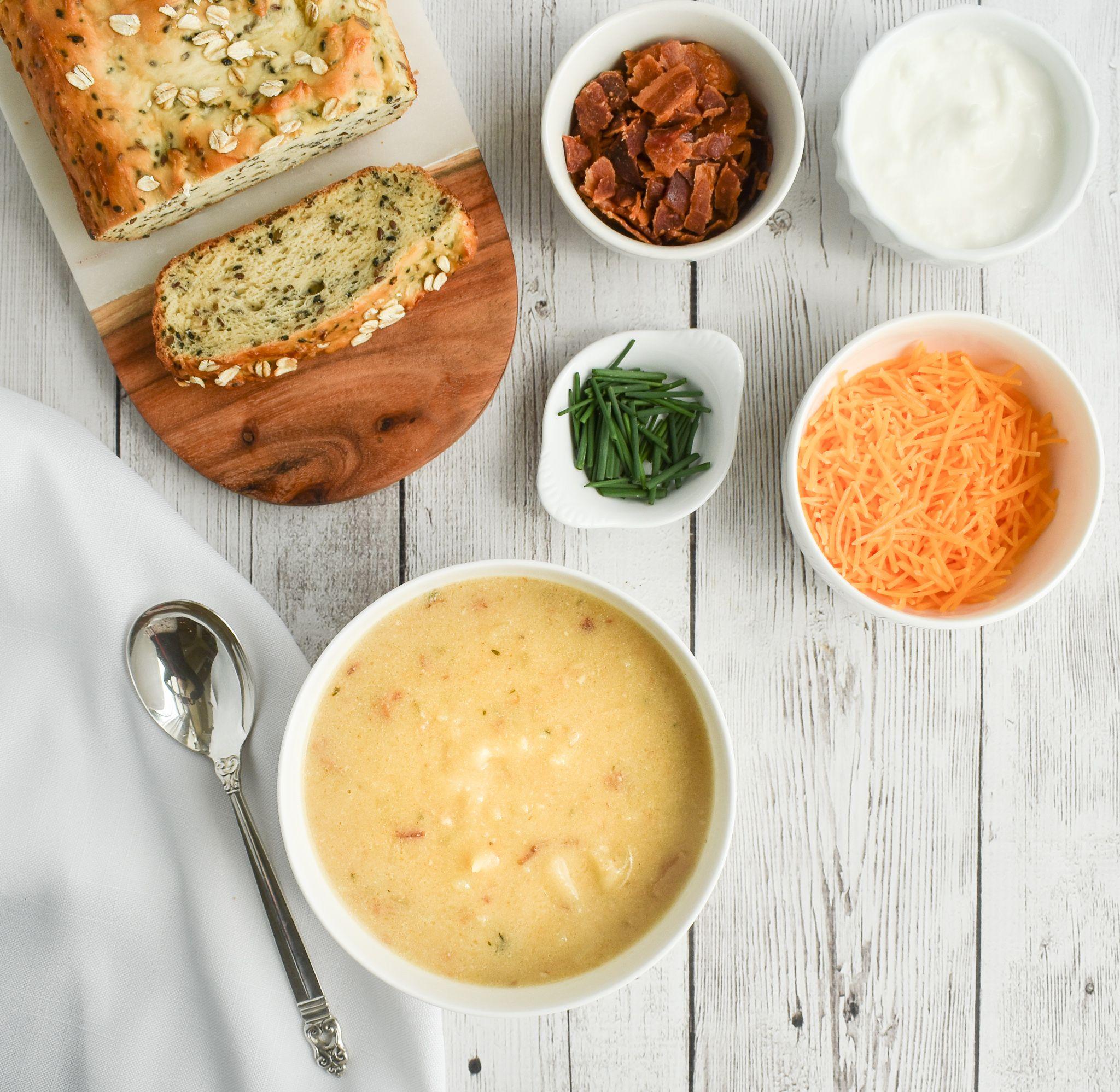 Low-FODMAP Slow-Cooker Baked Potato Soup; Gluten-free