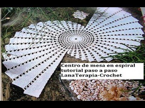 Centro de mesa en espiral part 1 lanaterapia crochet for Camino de mesa elegante en crochet