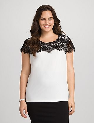 3149a68d62da20 roz & ALI™ Plus Size Black and White Lace Trim Tee from DressBarn ...