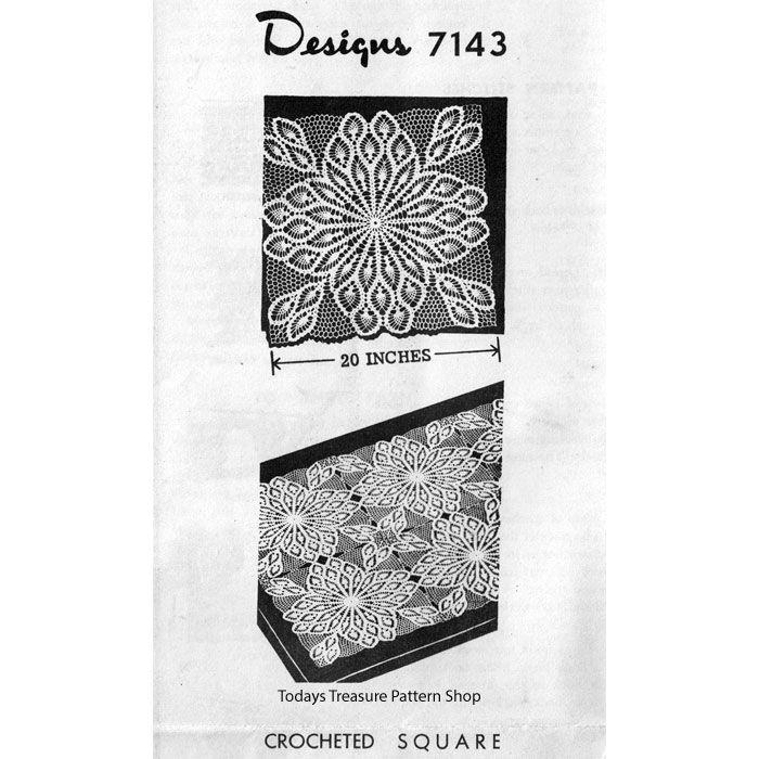 Large Crochet Pineapple Square Cloth Pattern Design 7143   Crochet a ...