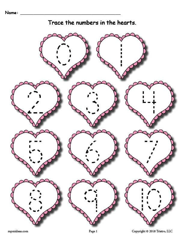 FREE Printable Valentine's Day Number Tracing Worksheets 0 ...