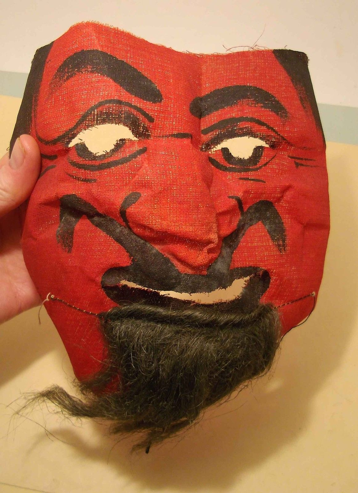 Vtg 1930's 40's Gauze Cloth Halloween Devil Mask Hand Painted Real ...