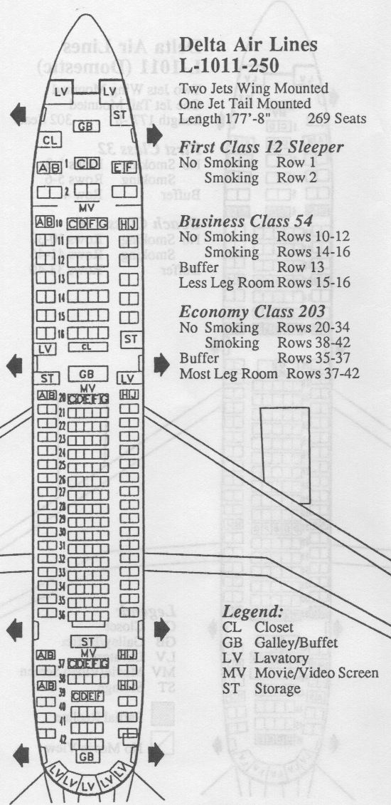 Vintage seat-map for Delta Airlines Lockheed 1011 (more commonly ...