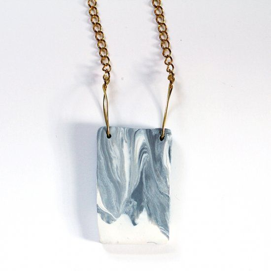 Make this marbled necklace with a hint of gold flair.