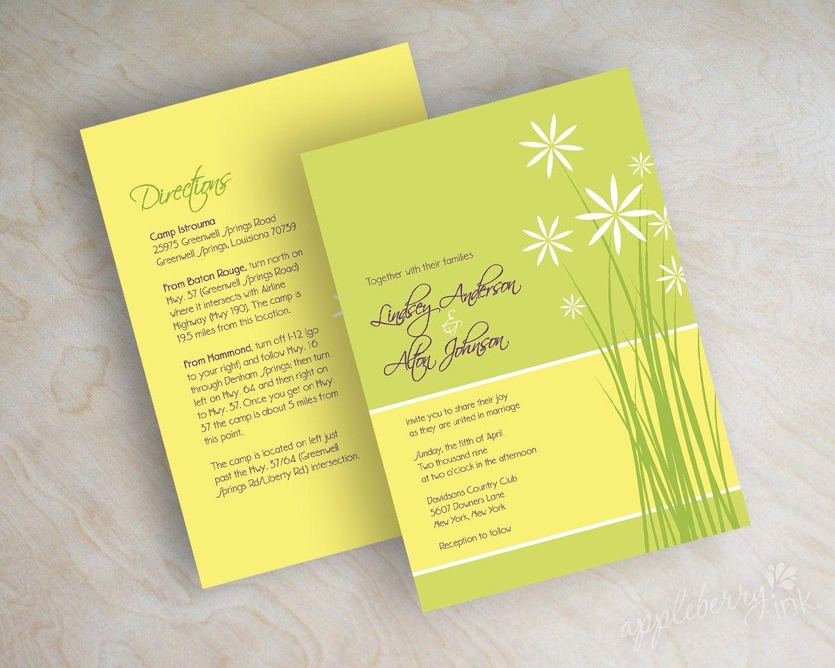 Daisy Wedding Invitation Flowers Invite Spring