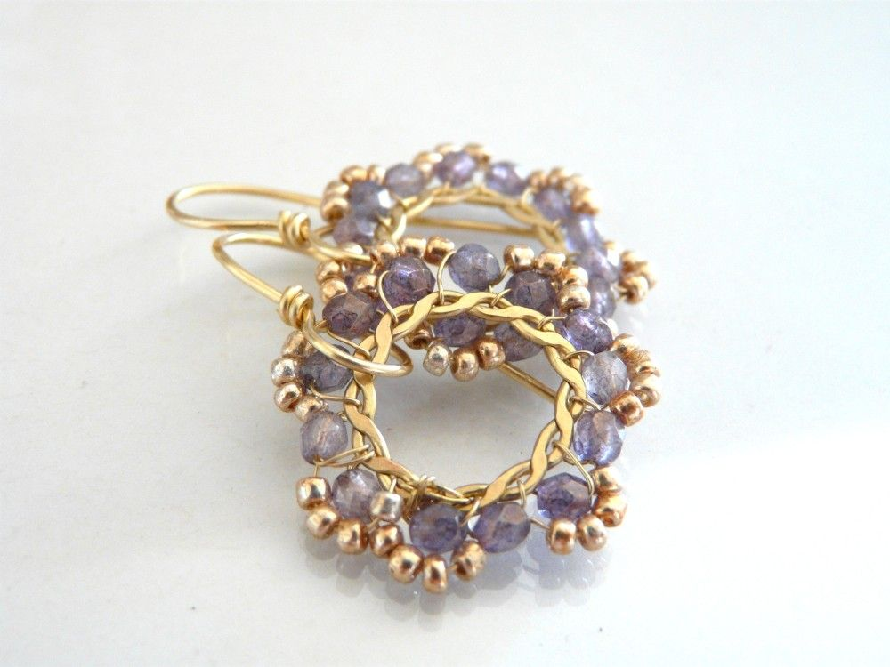 The Diamante - beautiful earrings with lavender Czech glass.