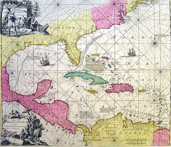 West Indies, 1715. | Antique Maps | Antique maps, All world ...