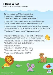 Lyrics Poster For I Have A Pet Animal Song From Super Simple Learning Kidssongs Kindergarten Esl