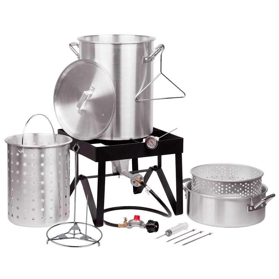 Backyard Pro 30 Qt. Deluxe Aluminum Turkey Fryer Kit / Steamer Kit - 55,000  BTU - Backyard Pro 30 Qt. Deluxe Aluminum Turkey Fryer Kit / Steamer Kit
