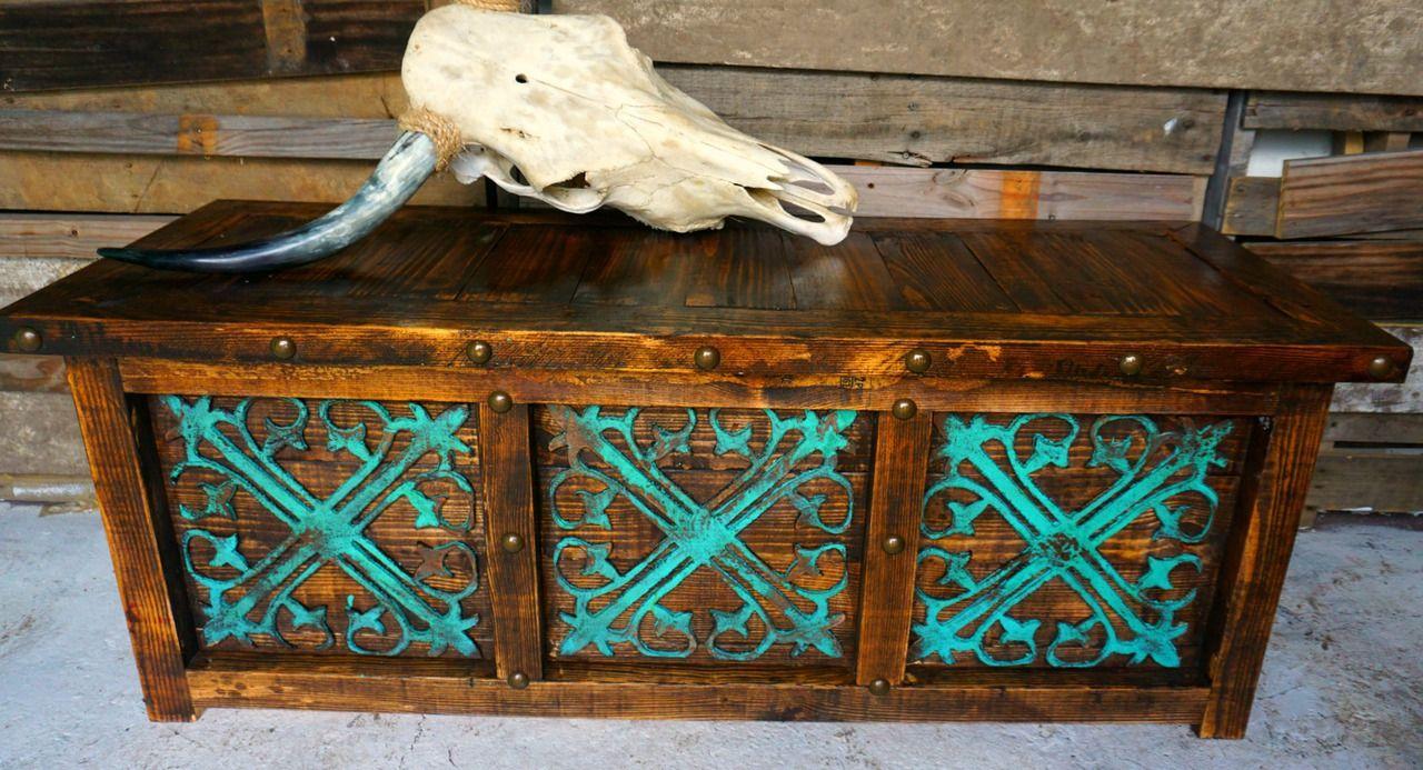 Reyna Storage Bench Turquoise Furniture Handmade Home Decor Tuscan Decorating