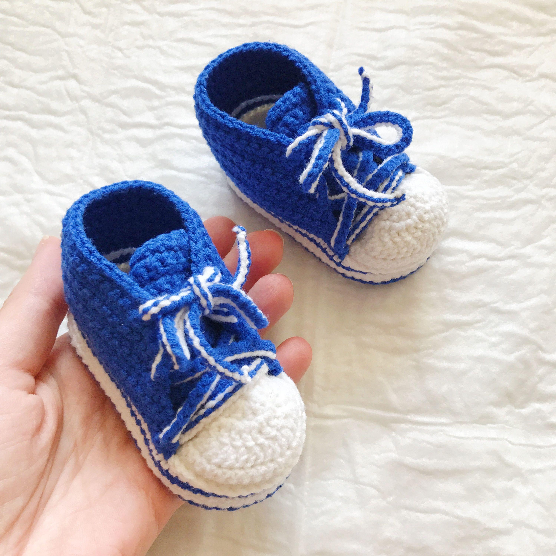 Blue Baby sneaker booties Handmade Baby boy sneakers Crochet baby