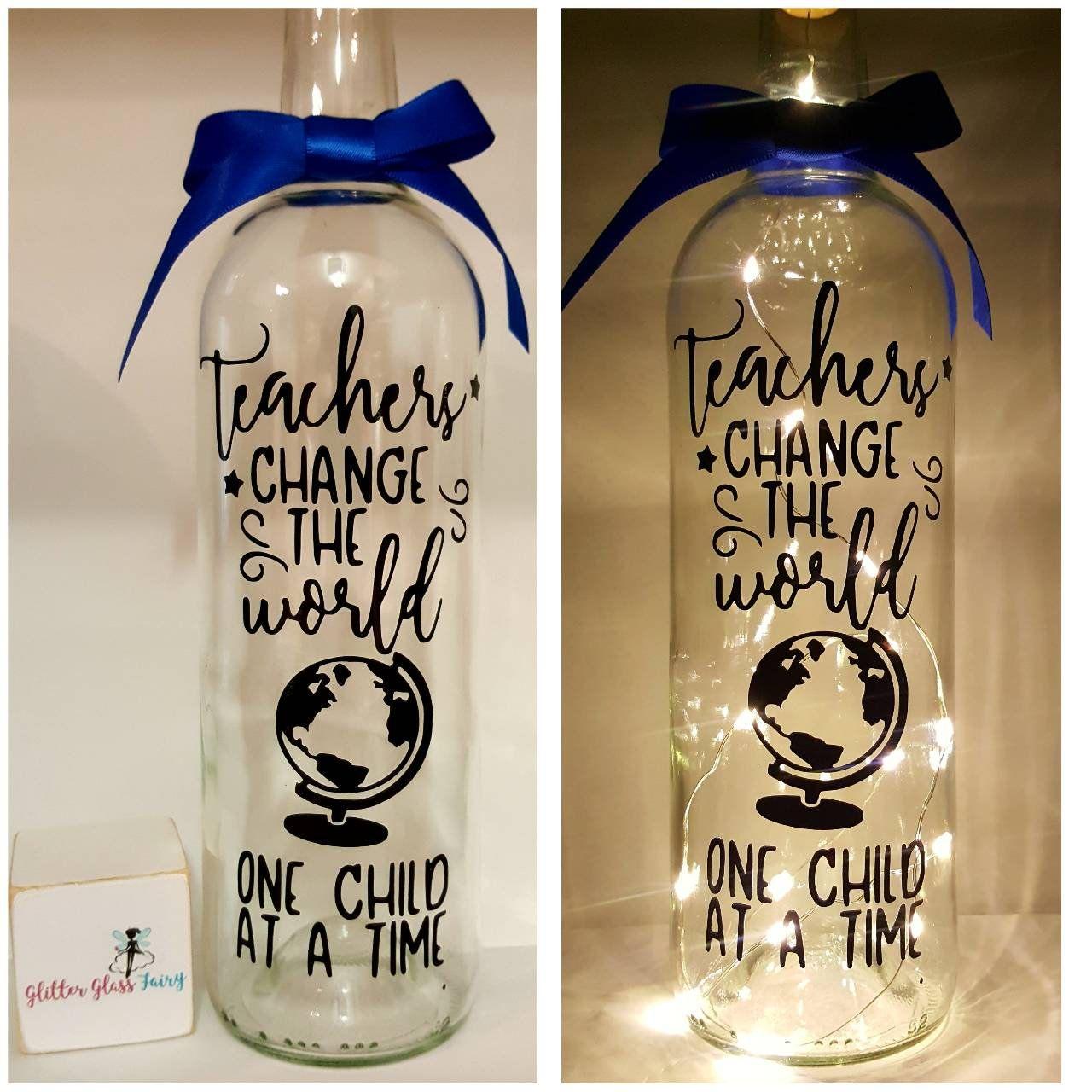 Teacher Appreciation Quote Light Bottle Gift Teachers Change The