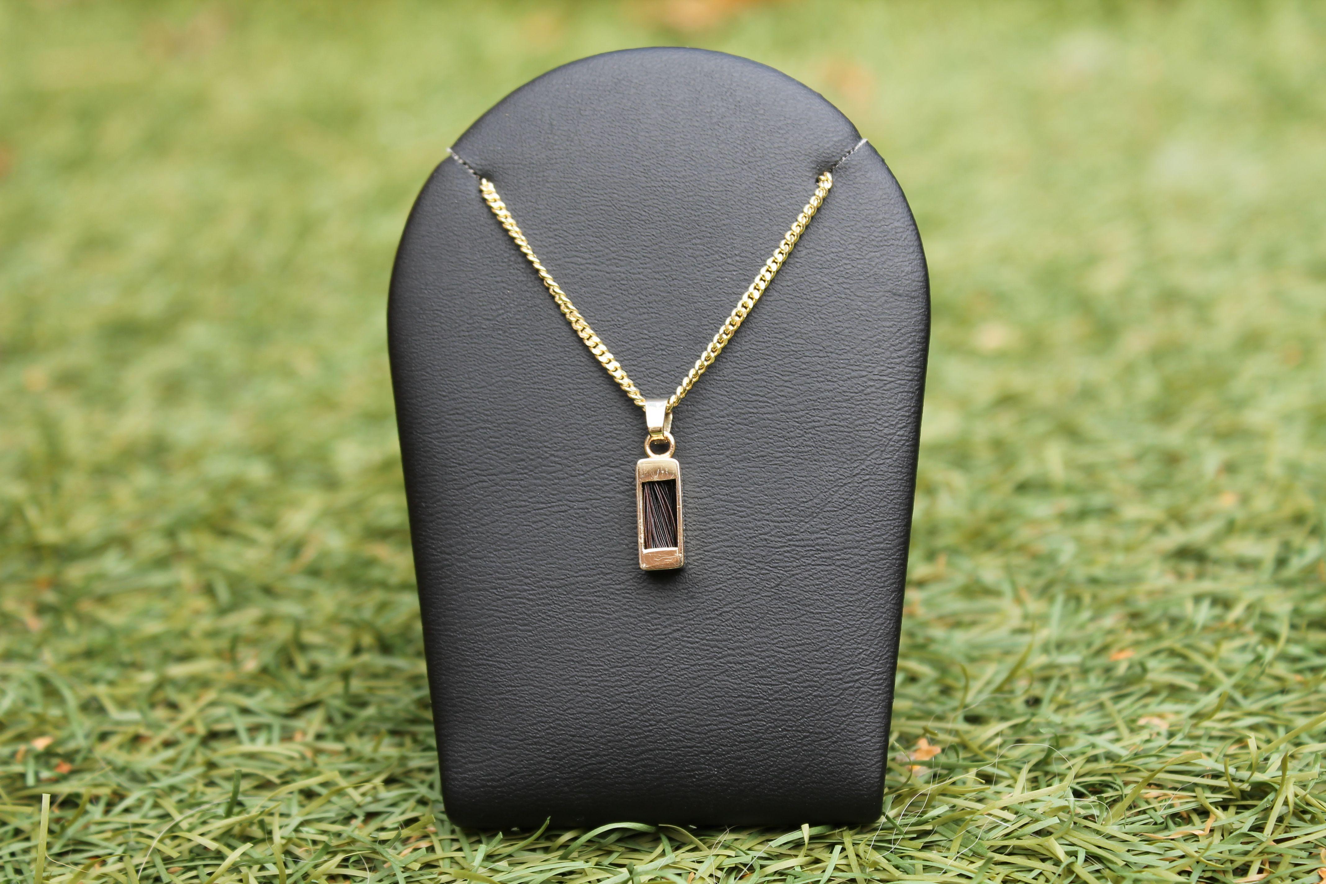 Aviiso sieraden met paardenhaar 14 karaats gouden hanger