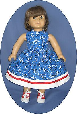 Fits-American-Girl-Doll-Clothes-4TH-OF-JULY-Dress-Red-white-blue-anchor-18-doll