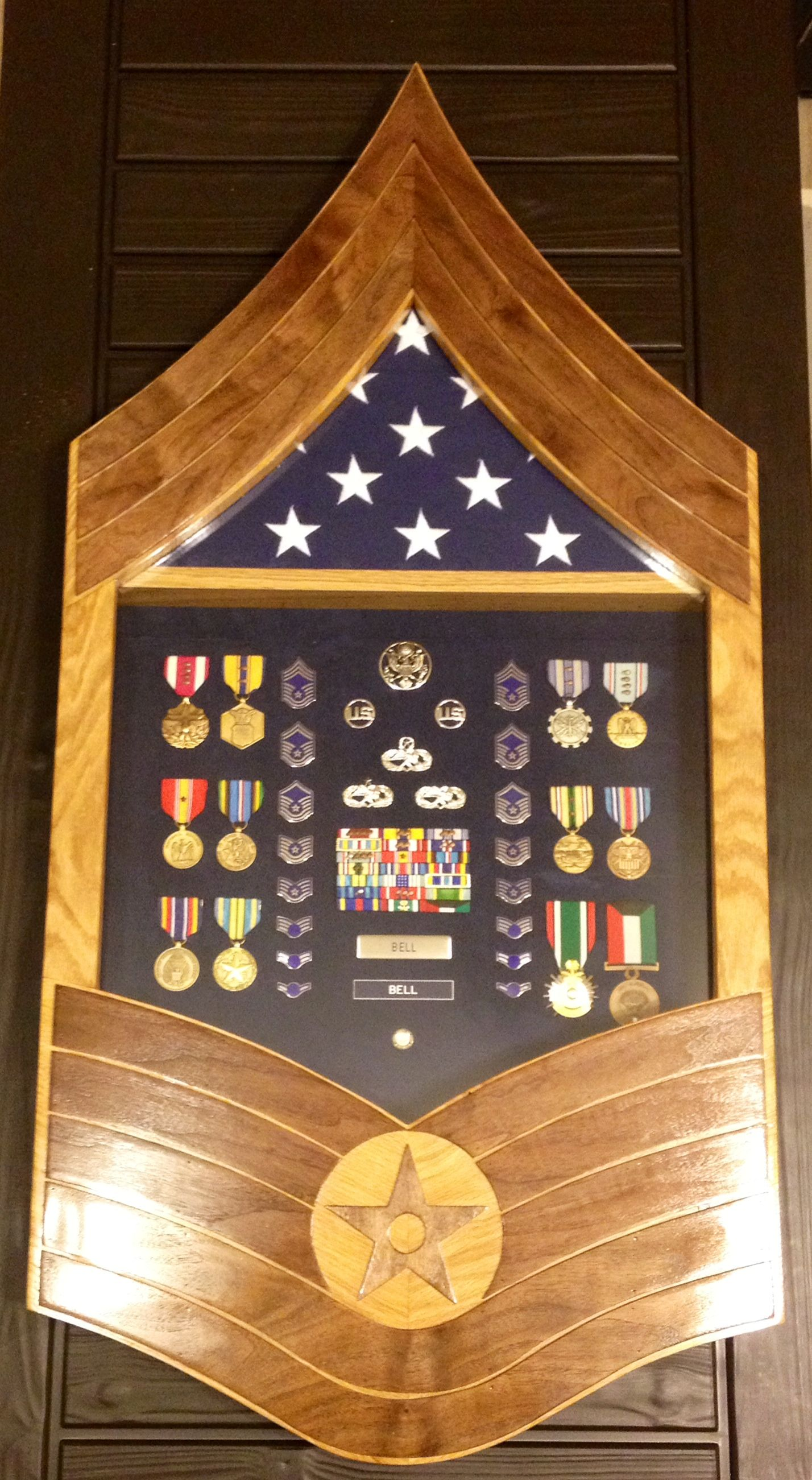 USAF Chief Master Sergeant Stripe Shadow Box Red Oak with