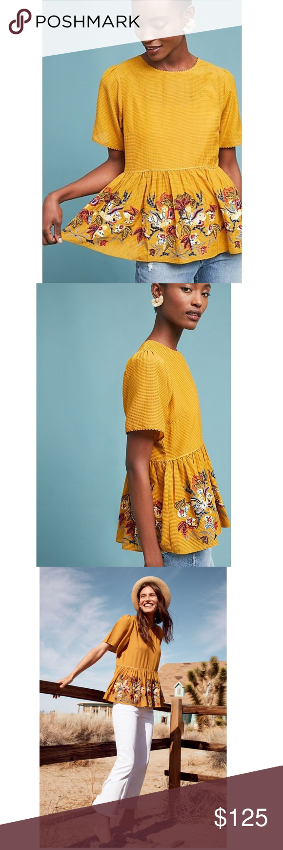 9e5598d25b229 Anthropologie DARIELA PEPLUM TOP new Delicate beadwork interwoven with  bright embroidery enlivens this flattering skirted top