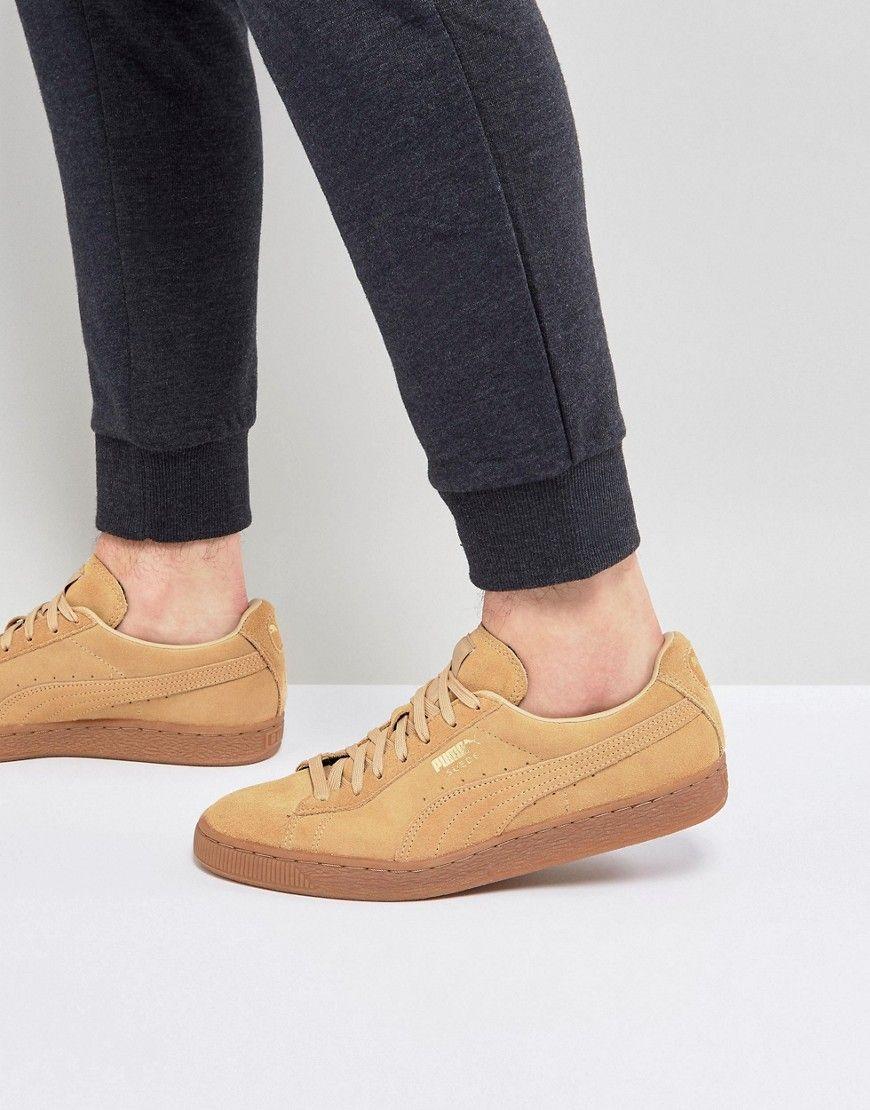 Puma Suede Gum Sole Sneakers In Tan