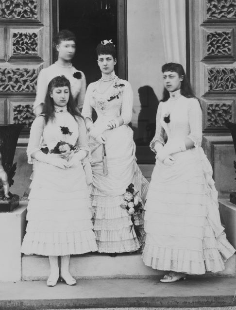 """Alexandra with her daughters nuptial photo of """"Bea""""s wedding 1885"""