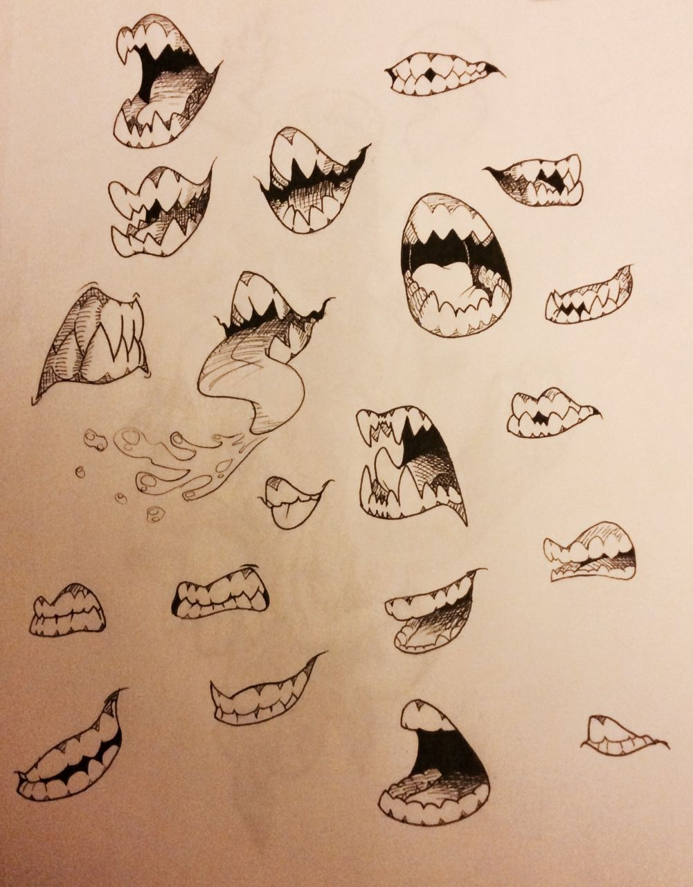 Mouth With Fangs Drawing : mouth, fangs, drawing, Frizzbutt:, Teeth, Study, Focusing, Variations..., Sketches,, Drawing, Expressions