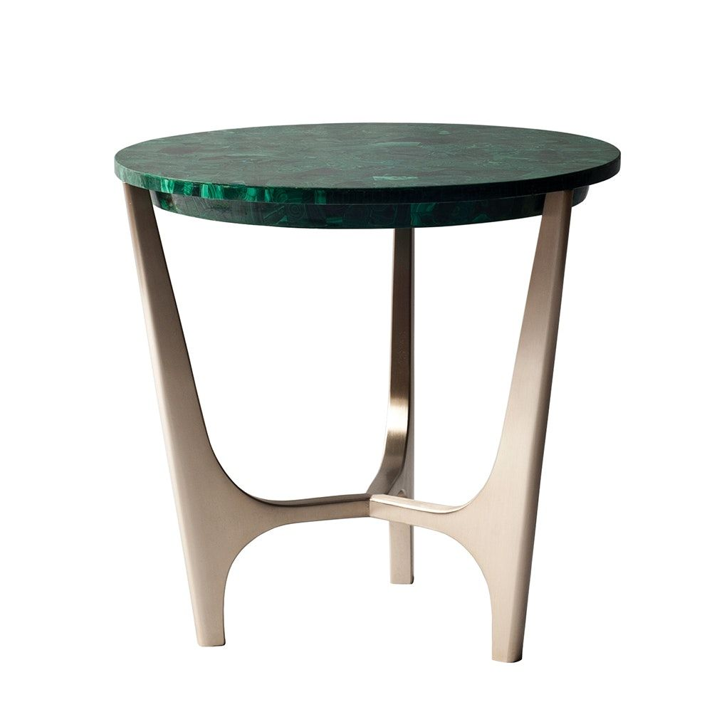 Athena Side Table in Malachite and Solid Bronze by DEMURO