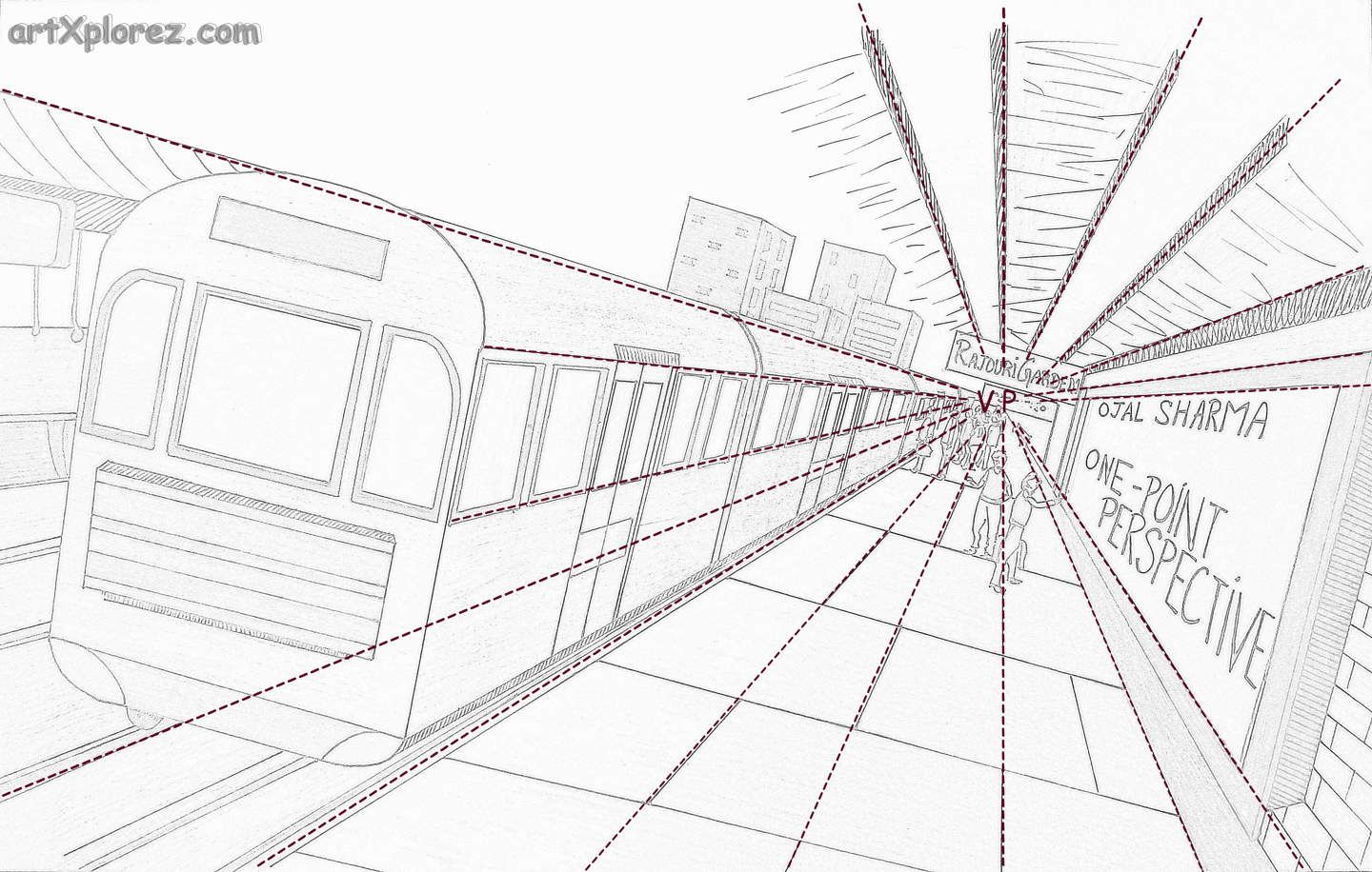One Point Perspective Illustration With Example
