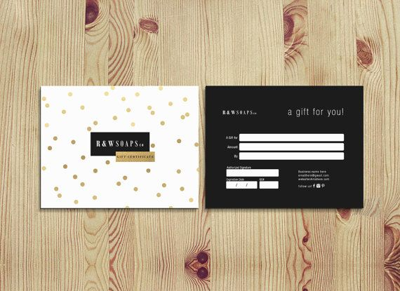 Gold confetti double sided gift certificate template - Instant - best of photographer gift certificate template