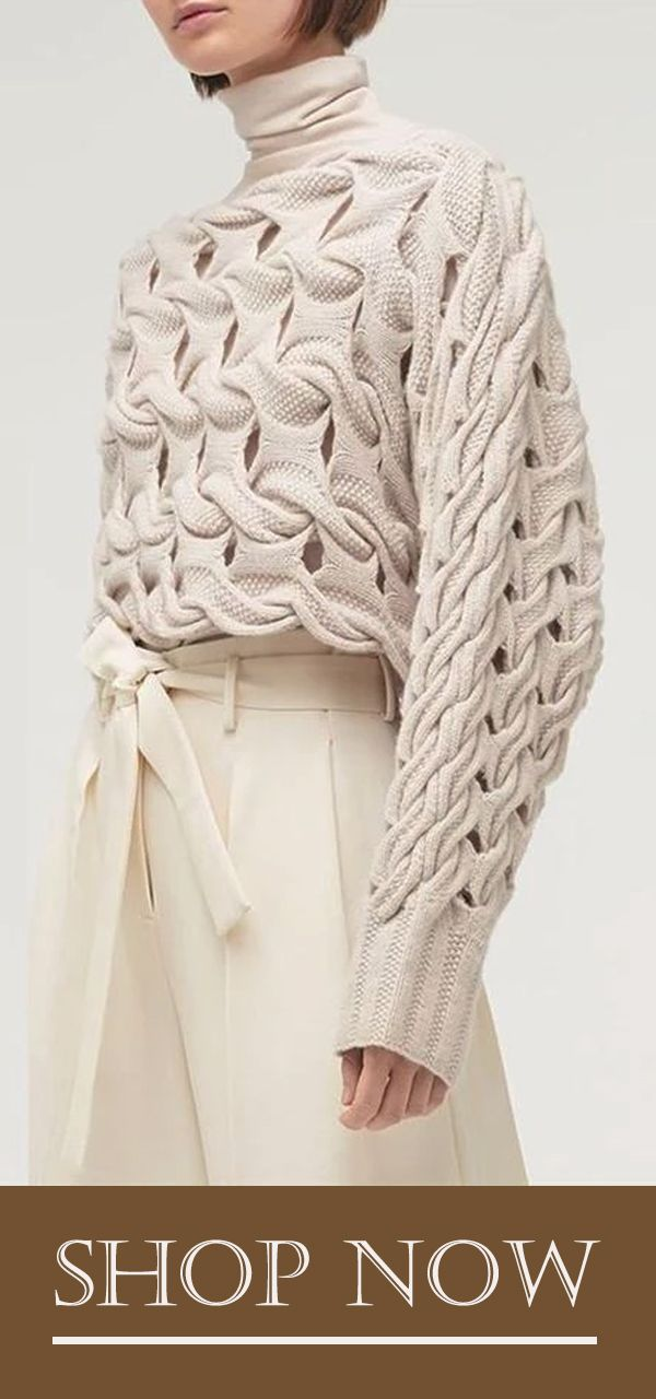 Fashion Solid Color Openwork Knit Sweater #knittedsweaters