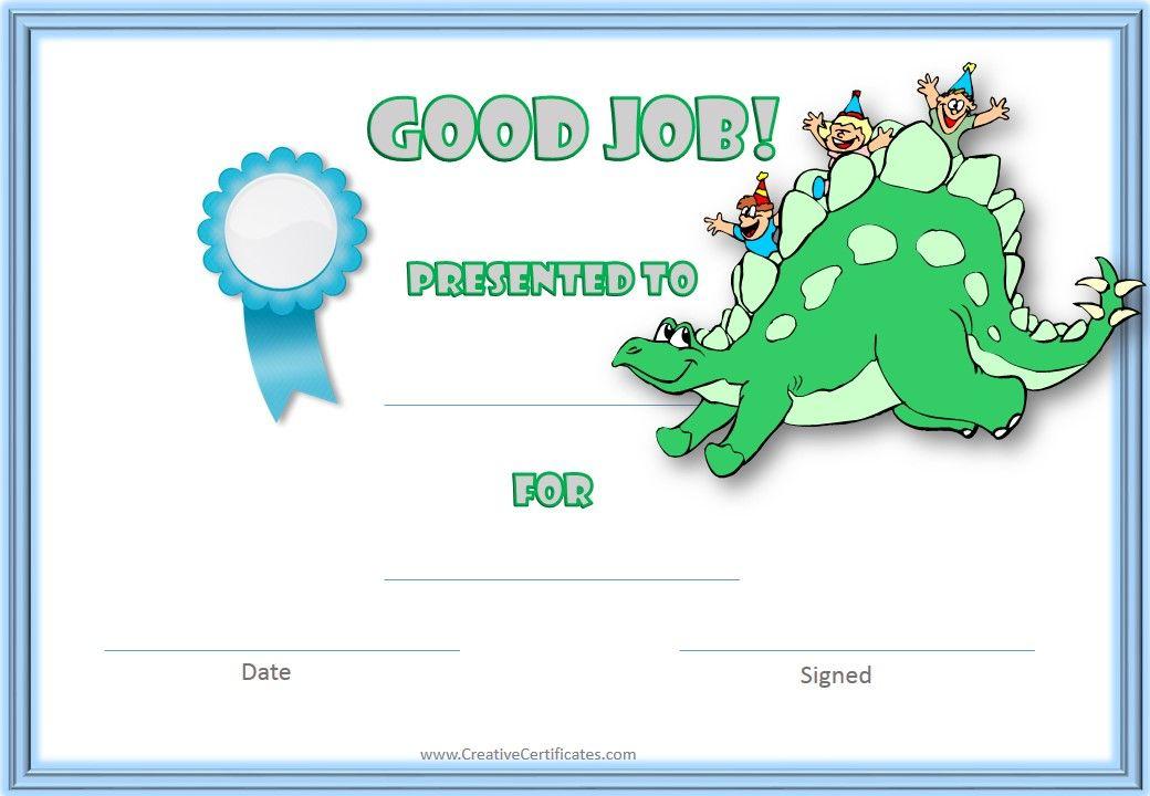 Dinosaur Award Certificates  Kids Stuff    Certificate