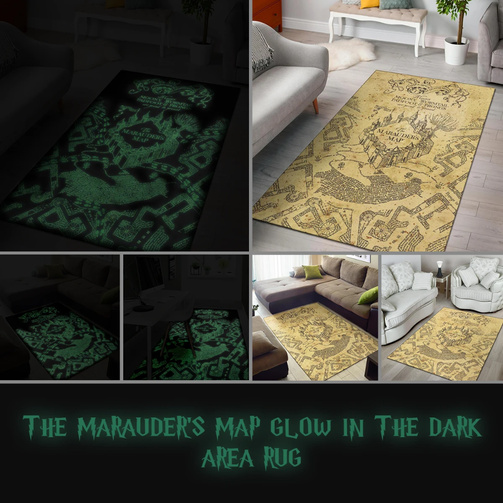 The Marauder S Map Glow In The Dark Area Rug In 2020 Glow In The