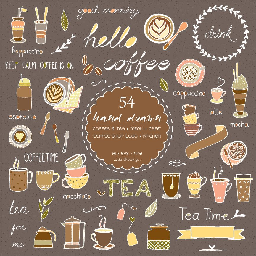 54 Hand Drawn Coffee & Tea Digital Clipart Coffee by