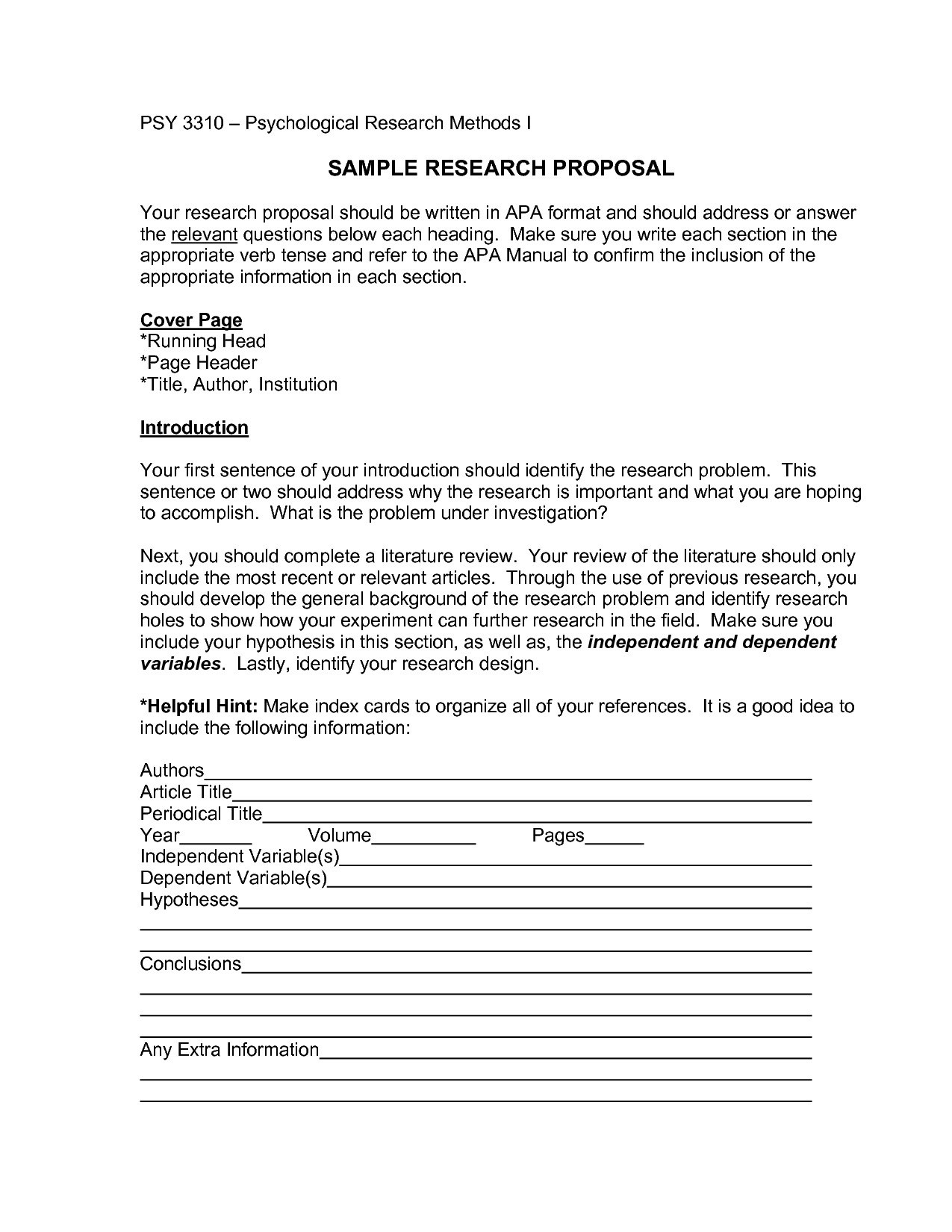 Psychology Research Paper Apa Style Sample Apa Research