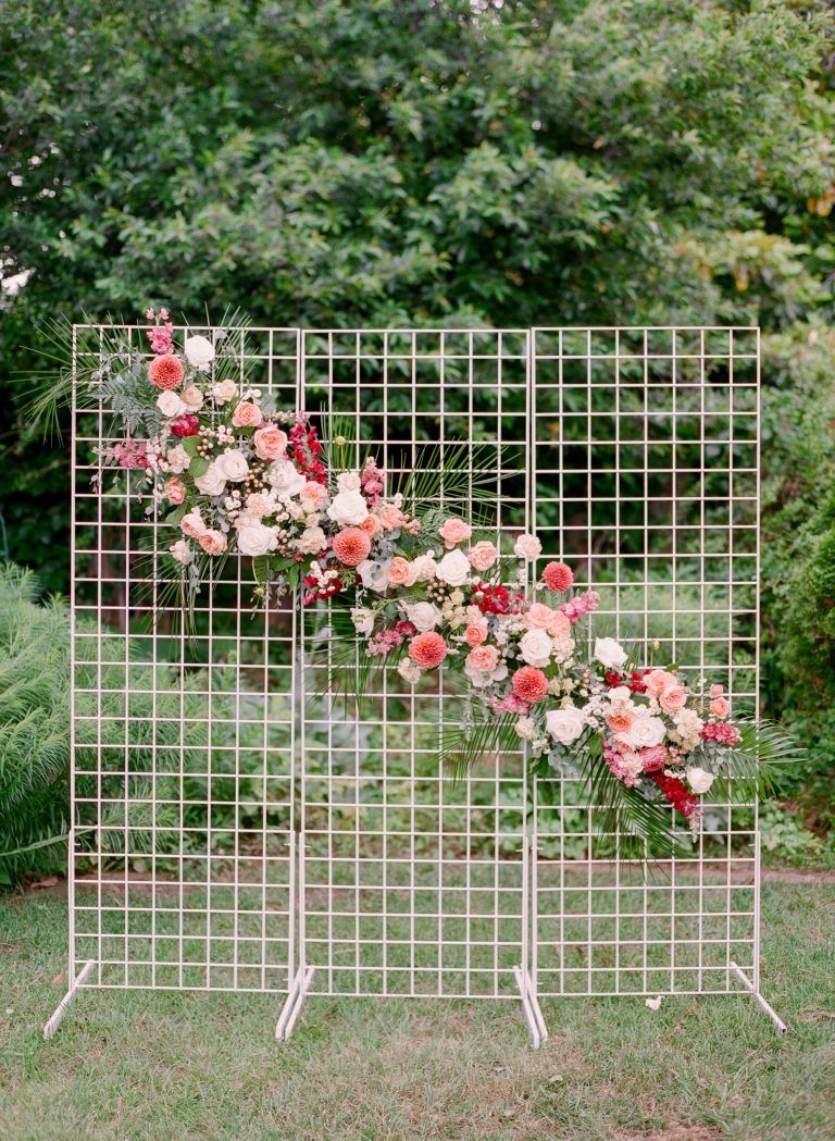 Diy floral ceremony backdrop by bloom culture flowers
