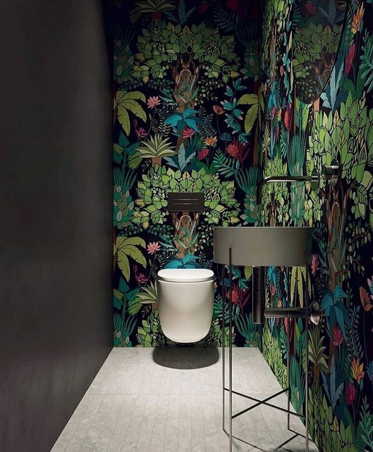 badezimmer einrichtung botanik-look dschungel tapete #wallpaper