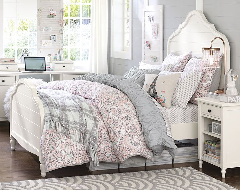 Soft Grey Soft Pink White Color Scheme Teenage Girl Bedroom