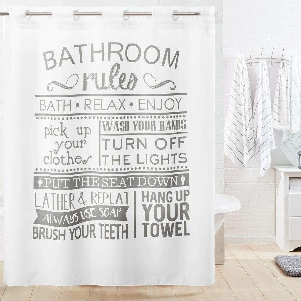 Bathroom Rules Hookless Shower Curtain Kids Bathroom Shower