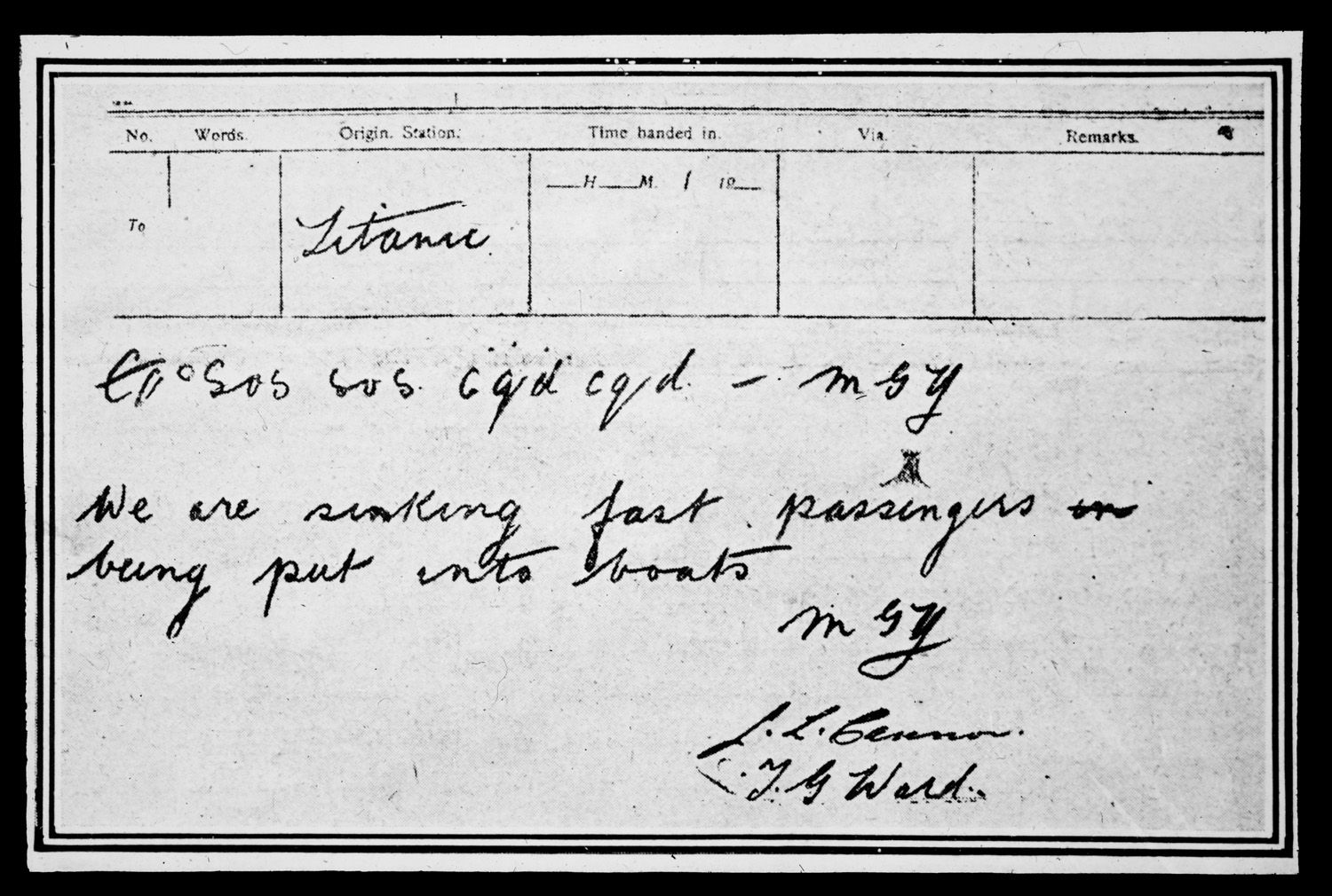 The Last Wireless Message Sent By Titanic S Radio Operator