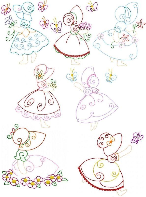 Sunbonnet Sue Butterflies | Color (Multi-Outline) | Pinterest ...