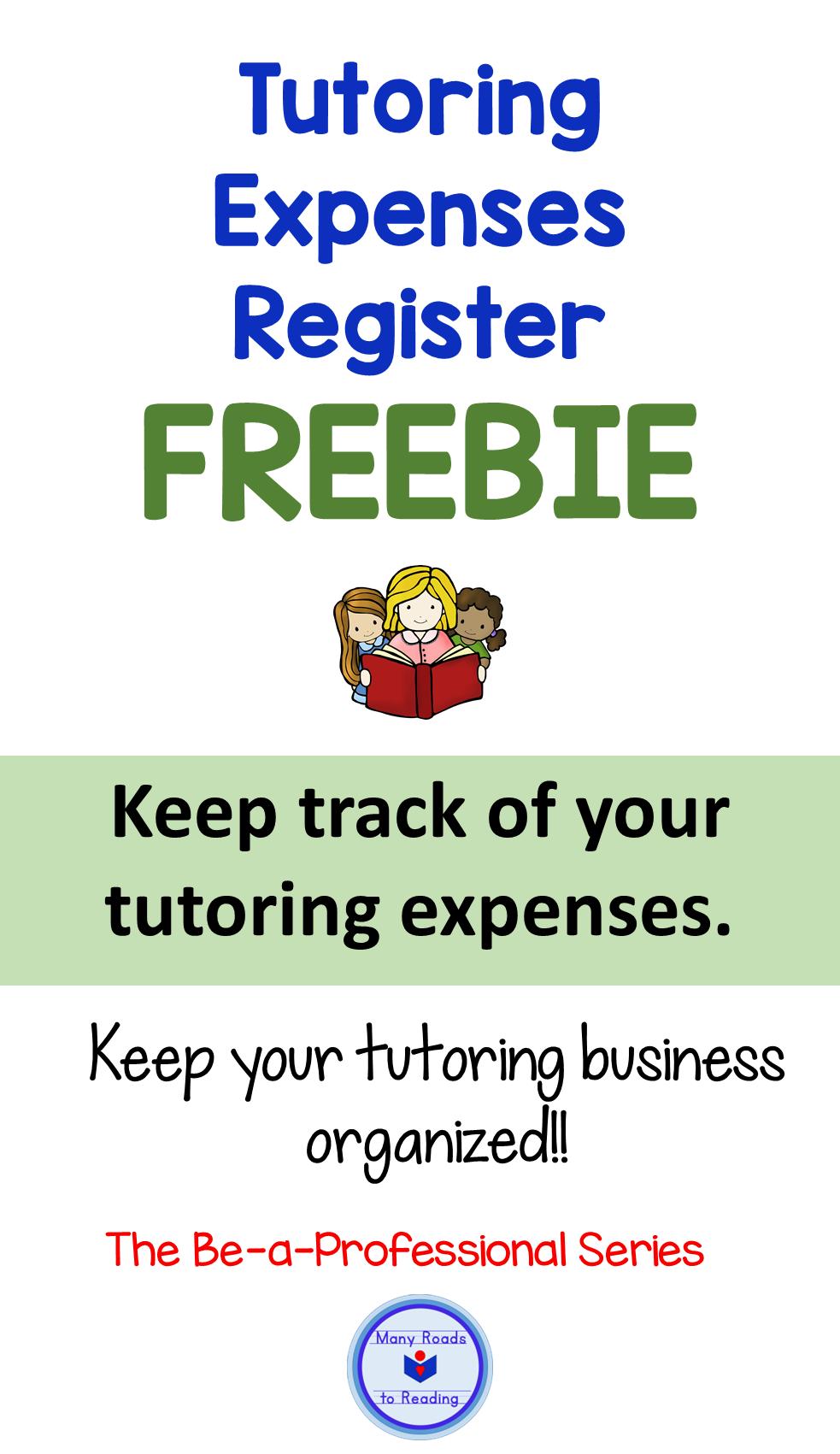 Tutoring Expenses Register Freebie Tutoring Business Online